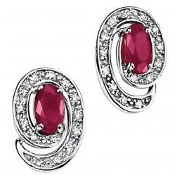 9ct White Gold Ruby Diamond Spiral Stud Earrings GK-GE659R
