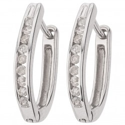 9ct White Gold Channel Set Diamond Creole Earrings F1313