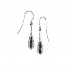 9ct White Gold Black and White Diamond Drop Earrings GE719