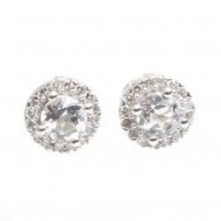 9ct White Gold Diamond White Topaz Stud Earrings GE892C