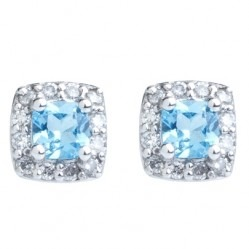 9ct White Gold Blue Topaz and Diamond Cluster Stud Earrings E2351W-12-10