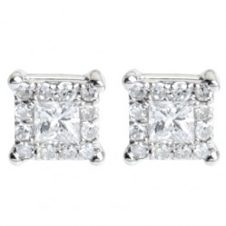 9ct White Gold Princess Cut Diamond Halo Stud Earrings E2850W-26-9