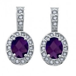9ct White Gold Oval Amethyst and Diamond Cluster Dropper Earrings E1891W-2-10