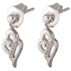 9ct White Gold Diamond Open Heart Dropper Earrings CE5754 9KW-DIA