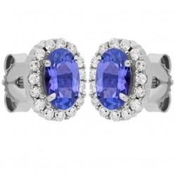 9ct White Gold Oval Tanzanite and Diamond Cluster Stud Earrings DE140W-TAN