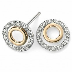 9ct Two Colour Diamond Open Circle Studs GE971