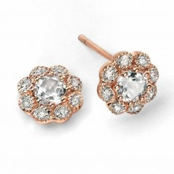 9ct Rose Gold White Topaz and Diamond Flower Stud Earrings GE972C