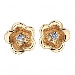 9ct Gold Diamond 0.02ct Flower Earrings E3164-10