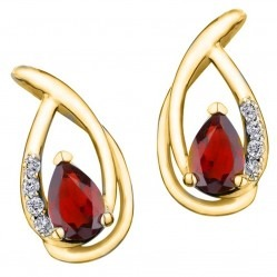 9ct Gold Pear-cut Ruby and Diamond Open Stud Earrings E2702-10