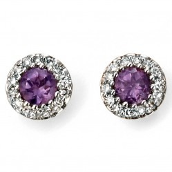 9ct White Gold Amethyst and Diamond Round Cluster Studs GE2027M