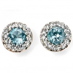 9ct Gold Blue Topaz and Diamond Round Cluster Studs GE2027T