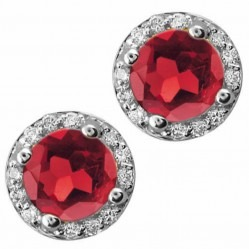 9ct White Gold Garnet and Diamond Round Stud Earrings E2912W-10-GARNET