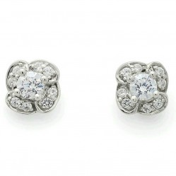 9ct White Gold Diamond Flower Studs 34.07564.004