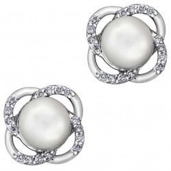 9ct White Gold Freshwater Pearl and Flower Stud Earrings E3613W-10