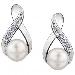 9ct White Gold Cultured Pearl and Diamond Twist Stud Earrings E3574W-10