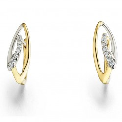 9ct Two Colour Gold Diamond Ellipse Dropper Earrings 34.09270.002