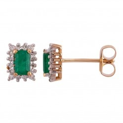 9ct Gold Baguette-Cut Emerald and Diamond Cluster Stud Earrings 080-JE0031Y/EM
