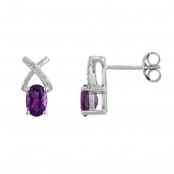 9ct White Gold Oval Amethyst 0.08ct Diamond Crossover Stud Earrings OJS0015E-AA
