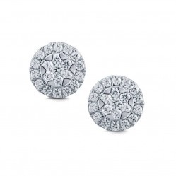 9ct White Gold Round Pave 1.00ct Stud Earrings SKE18925-100