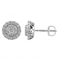 9ct White Gold 1.00ct Diamond Pave Round Stud Earrings SKE18925-100