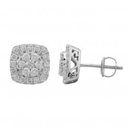 9ct White Gold 1.00ct Diamond Pave Square Stud Earrings SKE18926-100