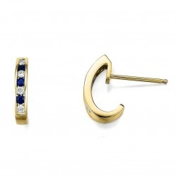9ct Gold Channel Set Sapphire and Diamond Half Hoop Earrings 20.01782.101