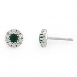 9ct White Gold Emerald and Diamond Round Cluster Stud Earrings 34.08054.014