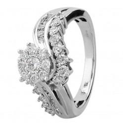 9ct White Gold 1.00ct Diamond Twist Fancy Cluster Ring SKR19651-100