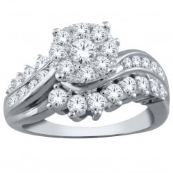 9ct White Gold Fancy Diamond Wave Cluster Ring SKR19651-100