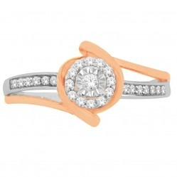 9ct Two Tone Gold 0.15ct Diamond Twist Cluster Ring SKR18964-15