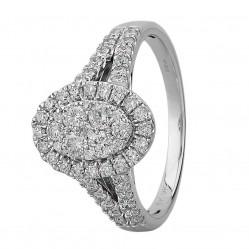 9ct White Gold 1.00ct Diamond Split Shouldered Oval Cluster Ring SKR21963-100