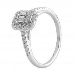 9ct White Gold 0.35ct Multi-cut Diamond Square Cluster Ring SKR24393-33