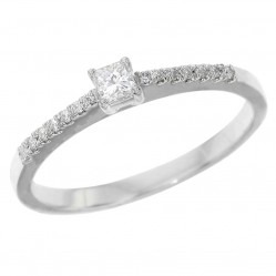 Platinum Princess Cut Diamond Set Shoulder Ring PAR46 M