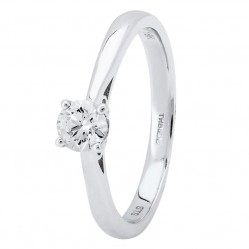 Platinum Four Claw Basket-Set Diamond Solitaire Ring (min 0.30ct) CR11066/PT950/.30CT P