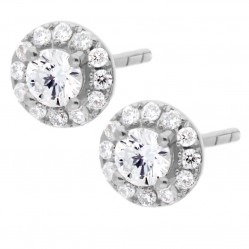 18ct White Gold Fancy Diamond Circle Stud Earrings E3446WG-125-18
