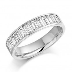 18ct White Gold 1.00ct Channel Set Baguette-cut Half Eternity Ring HET927 O