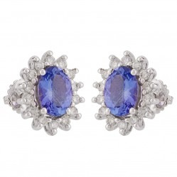 18ct Two Colour Gold Sapphire and Diamond Cluster Stud Earrings VE07350 18KW SAPH