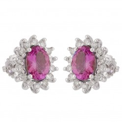 18ct White Gold Ruby and Diamond Cluster Stud Earrings VE07350 18KW RUBY