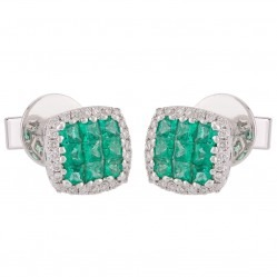 18ct White Gold Emerald and Diamond Square Stud Earrings 426541 EM