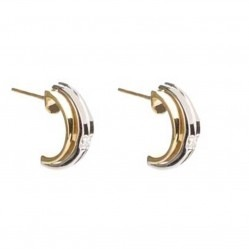 18ct Two Colour Gold Diamond Half Hoop Earrings 18DER144-2C