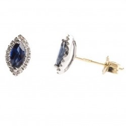18ct Two Tone Gold Marquise Sapphire and Diamond Stud Earrings 18DER149-S-2C