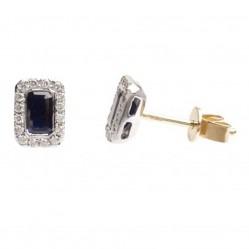 18ct White Gold Rectangular Sapphire Halo Stud Earrings 18DER164-S-W