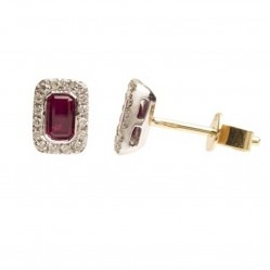 18ct White Gold Ruby and Diamond Rectangular Studs 18DER164-R-W