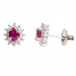 18ct White Gold Ruby Diamond Stud Earrings 18DER419-R-W
