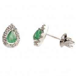 18ct White Gold Pear Cut Emerald Diamond Halo Stud Earrings 18DER161-E-W