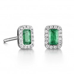 18ct White Gold Emerald and Diamond Rectangular Studs 18DER164-E-W