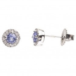 18ct White Gold Tanzanite Diamond Halo Stud Earrings 18DER416-TZ-W