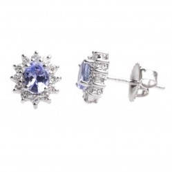 18ct White Gold Tanzanite and Diamond Cluster Stud Earrings 18DER419-TZ-W