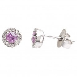 18ct White Gold Pink Sapphire Diamond Stud Earrings 18DER416-PS-W