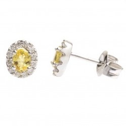 18ct White Gold Oval Yellow Sapphire Diamond Halo Stud Earrings 18DER160-YS-W